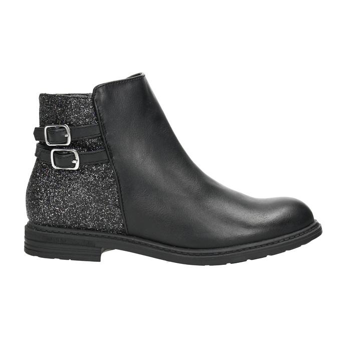 Dievčenská členková obuv s trblietkami mini-b, čierna, 391-6395 - 26