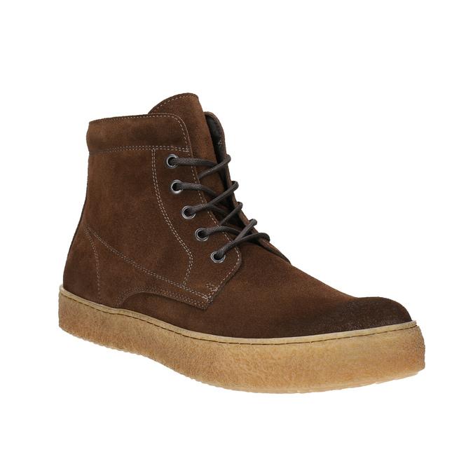 Hnedá kožená členková obuv bata, hnedá, 843-3632 - 13