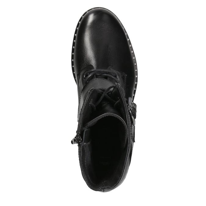 Dámske kožené čižmy s prackou bata, čierna, 596-6681 - 15
