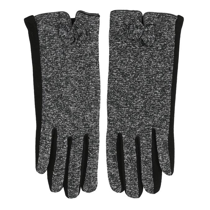 Dámske rukavice s mašličkou bata, čierna, 909-6615 - 26