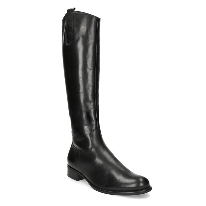 Kožené dámske čižmy na nízkom podpätku gabor, čierna, 694-6007 - 13
