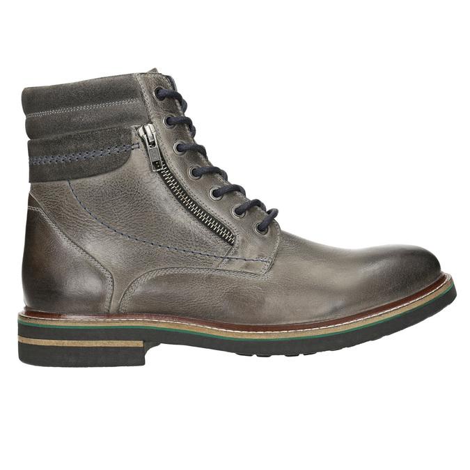 Kožená členková obuv bata, šedá, 896-2686 - 15