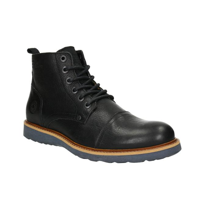 Pánska kožená členková obuv bata, čierna, 896-6667 - 13