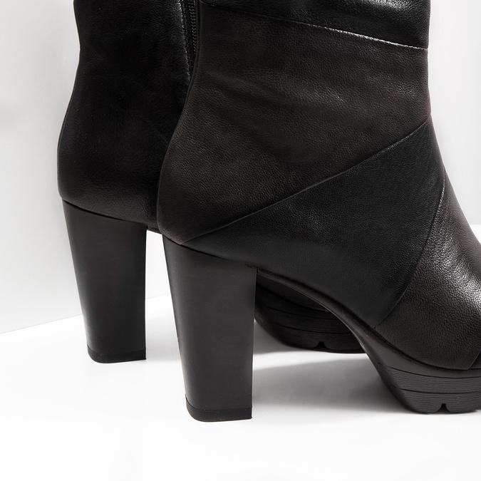 Kožená členková obuv na podpätku bata, šedá, 796-2650 - 14