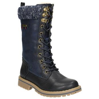 Dievčenská zimná obuv s úpletom mini-b, modrá, 391-9657 - 13
