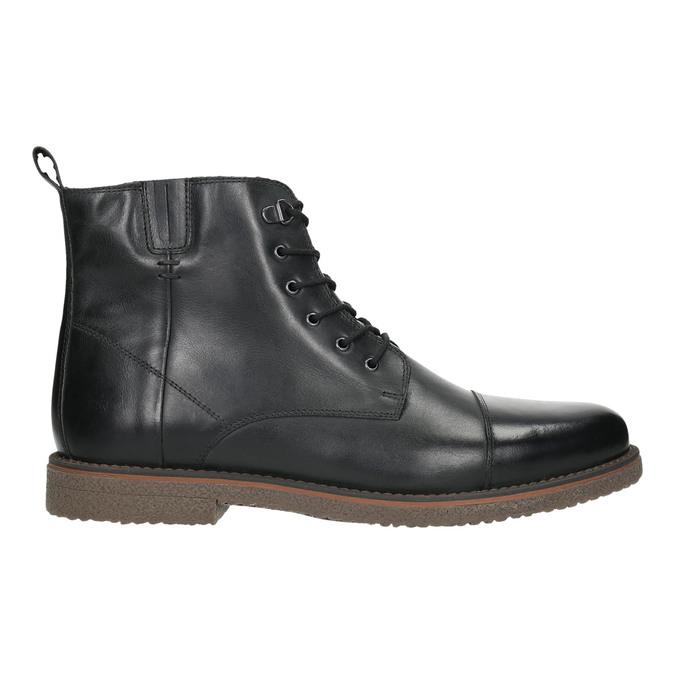 Kožená členková obuv so zateplením bata, čierna, 896-6662 - 15
