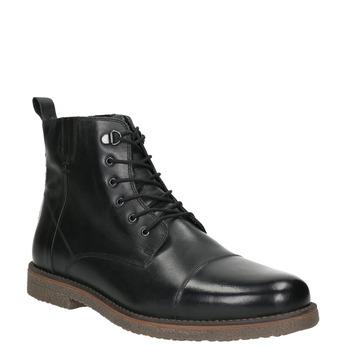 Kožená členková obuv so zateplením bata, čierna, 896-6662 - 13