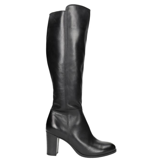 Kožené čižmy na podpätku bata, čierna, 794-6648 - 15