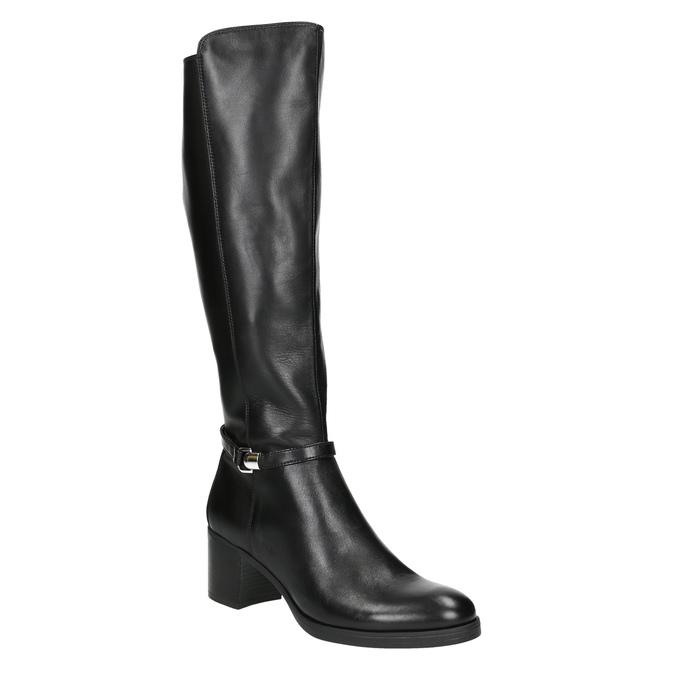 Kožené dámske čižmy na stabilnom podpätku bata, čierna, 694-6637 - 13