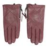 Vínové kožené rukavice so zipsom bata, červená, 904-5108 - 26