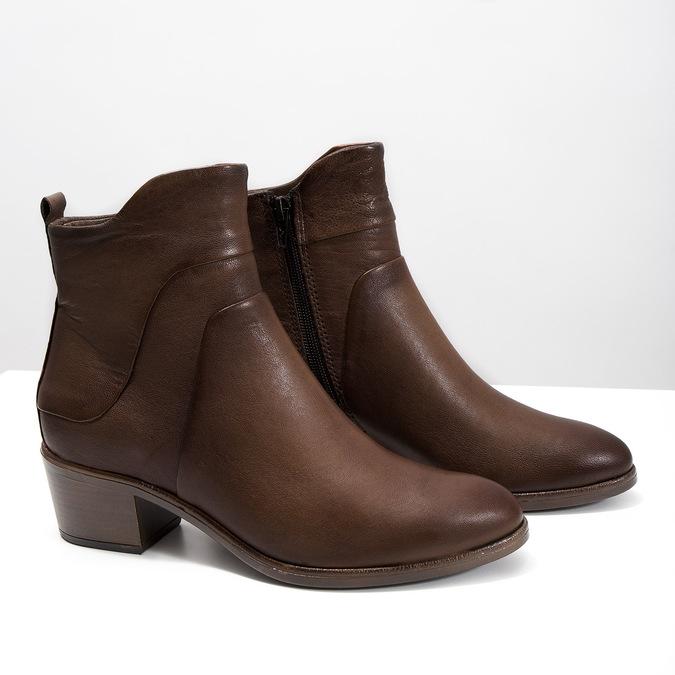 Členkové čižmy na stabilnom  podpätku bata, hnedá, 696-4654 - 18