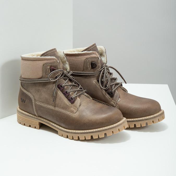 Kožená zimná obuv s kožúškom weinbrenner, hnedá, 594-2491 - 18