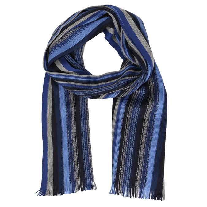 Modrý pánsky šál s prúžkami bata, modrá, 909-9634 - 13