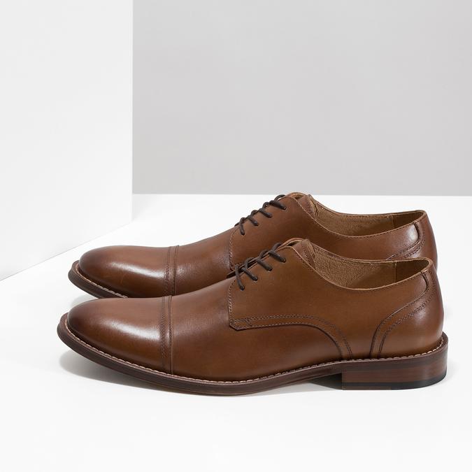 Hnedé kožené poltopánky v Derby strihu bata, hnedá, 826-3812 - 16