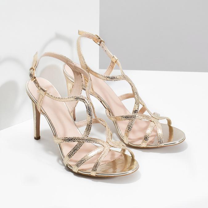 Zlaté spoločenské sandále z kože bata, 726-8648 - 26