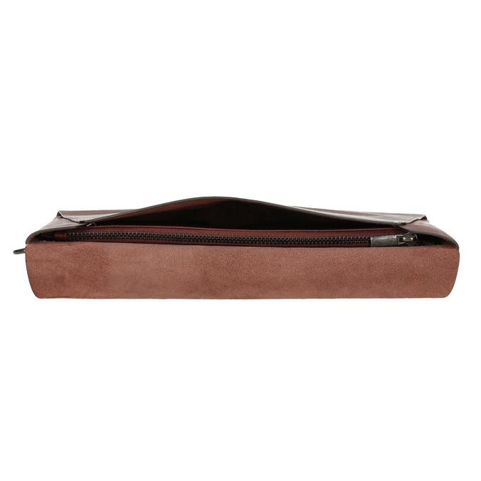 Kožená listová kabelka s prešitím bata, červená, 966-5285 - 17
