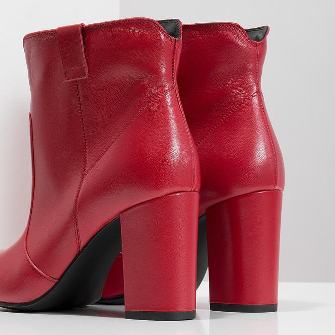 Červené členkové čižmy z kože bata, červená, 794-5652 - 18