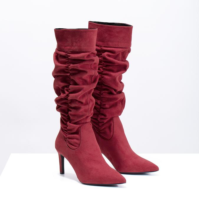 Dámske červené čižmy s riasením bata, červená, 799-5619 - 26