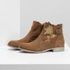 Členkové kožené čižmy s výšivkou bata, hnedá, 596-4686 - 16