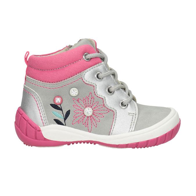 Členková detská obuv s výšivkou bubblegummers, šedá, 121-2619 - 26