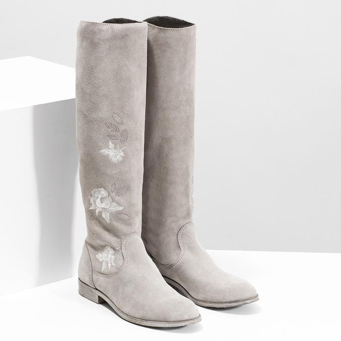 Čižmy s výšivkou a kamienkami bata, šedá, 596-2687 - 26