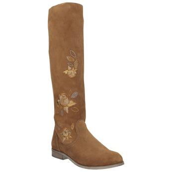 Kožené čižmy s výšivkou bata, hnedá, 596-4687 - 13