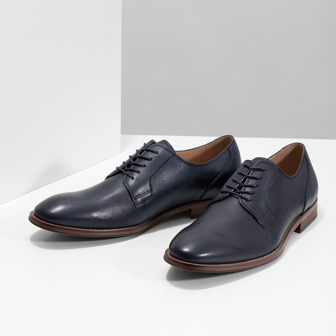 Modré kožené poltopánky bata, modrá, 826-9997 - 16