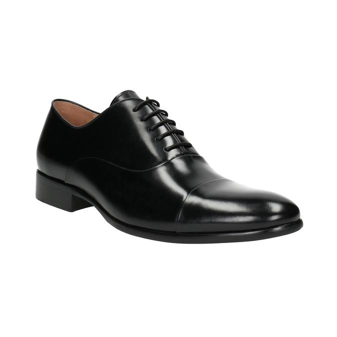 Čierne kožené poltopánky v Oxford strihu bata, čierna, 824-6626 - 13