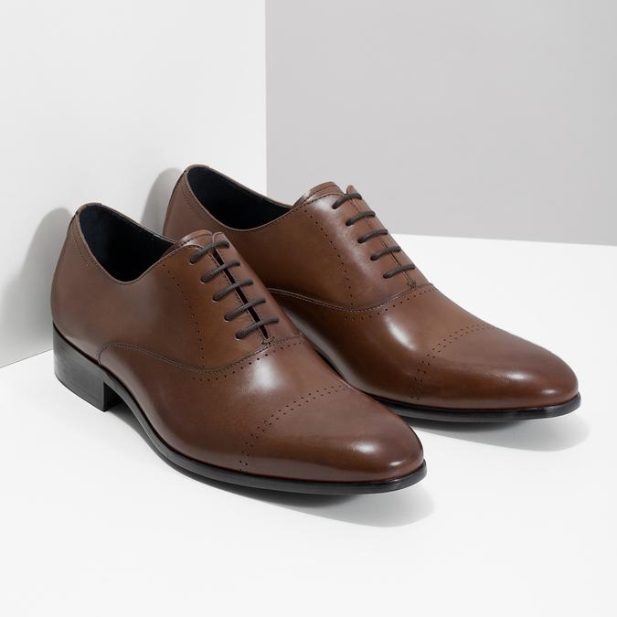 Hnedé kožené Oxford poltopánky bata, hnedá, 826-3852 - 26