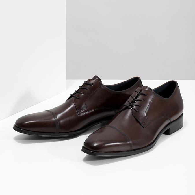 Tmavé hnedé kožené Derby poltopánky bata, hnedá, 826-4851 - 16