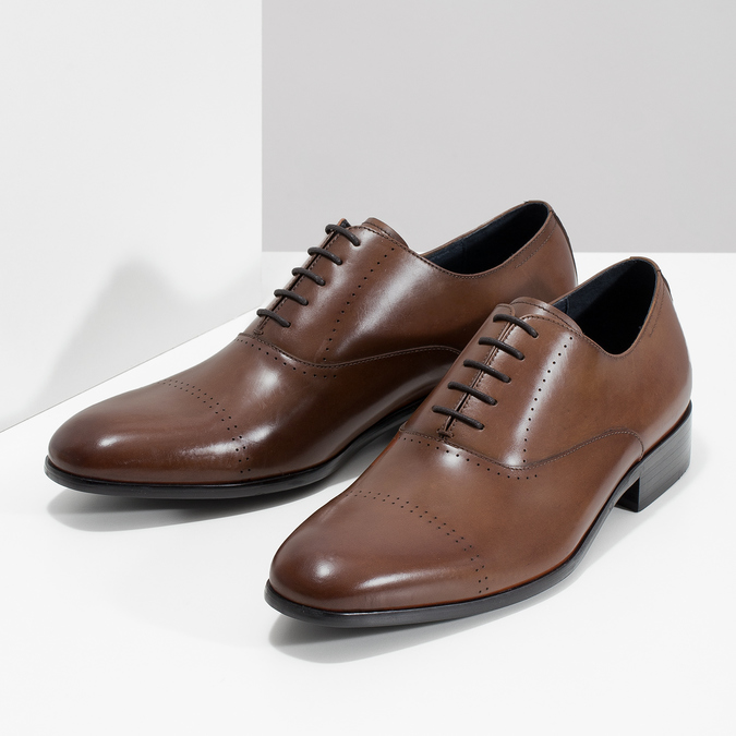 Hnedé kožené Oxford poltopánky bata, hnedá, 826-3852 - 16