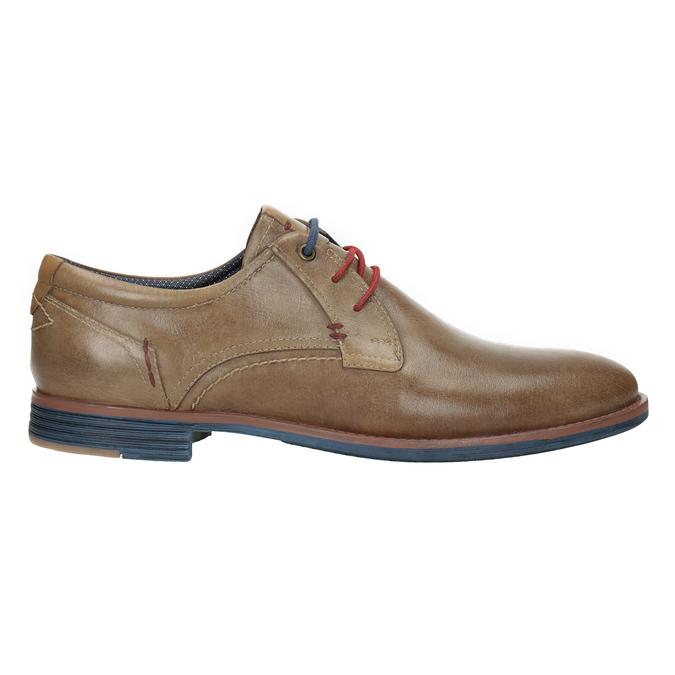 Kožené poltopánky s farebnými šnúrkami bata, hnedá, 826-4928 - 26