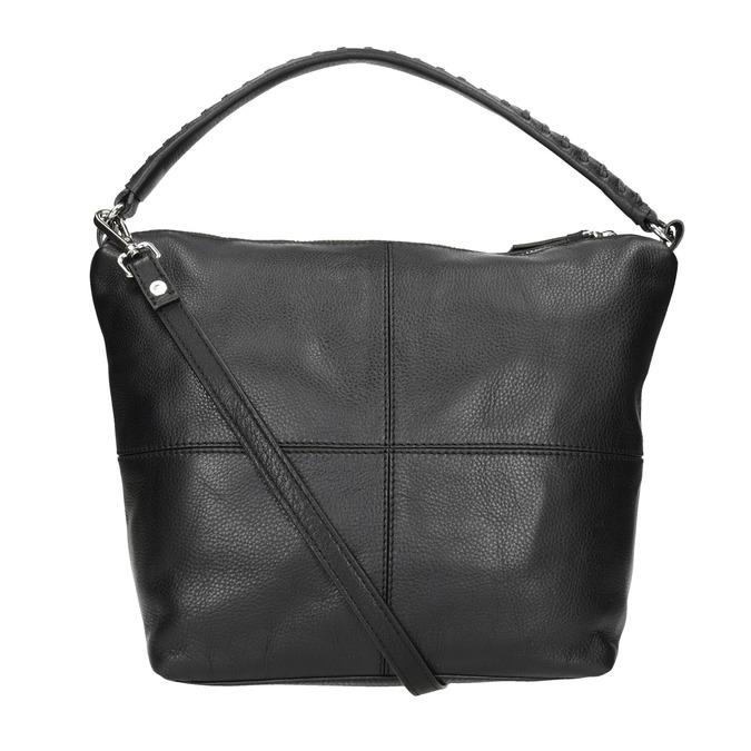 Kožená Hobo kabelka s prešitím bata, čierna, 964-6290 - 16