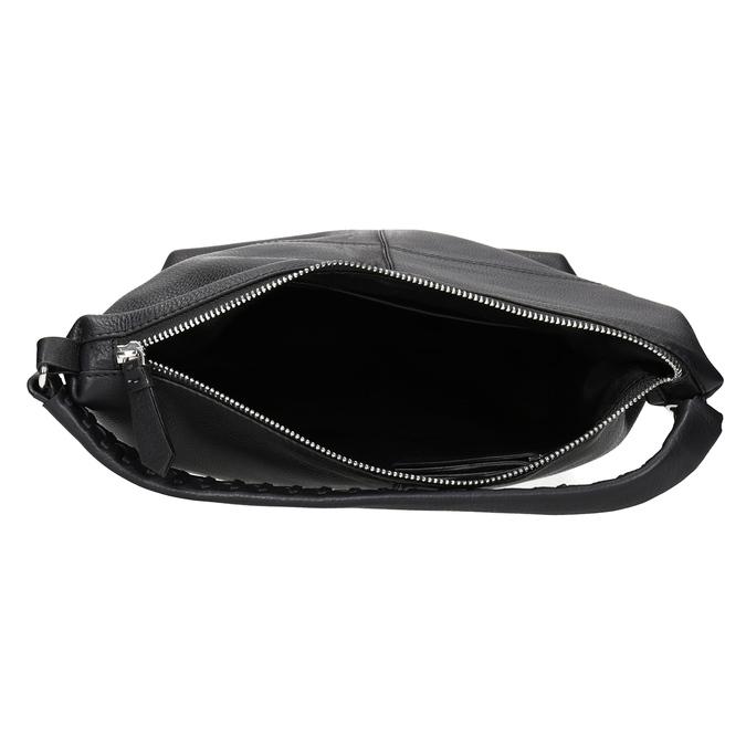 Kožená Hobo kabelka s prešitím bata, čierna, 964-6290 - 15