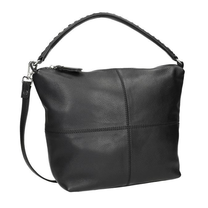 Kožená Hobo kabelka s prešitím bata, čierna, 964-6290 - 13
