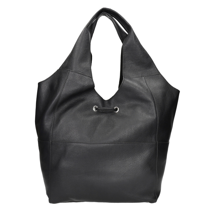 Kožená dámska kabelka so strapcami bata, čierna, 964-6294 - 16
