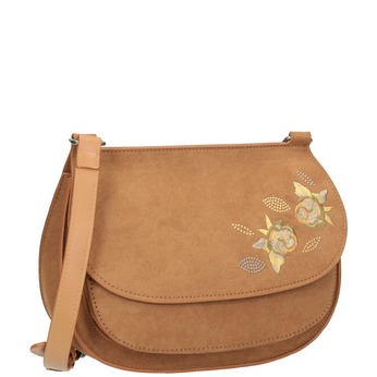Crossbody kabelka s výšivkou bata, hnedá, 969-4686 - 13
