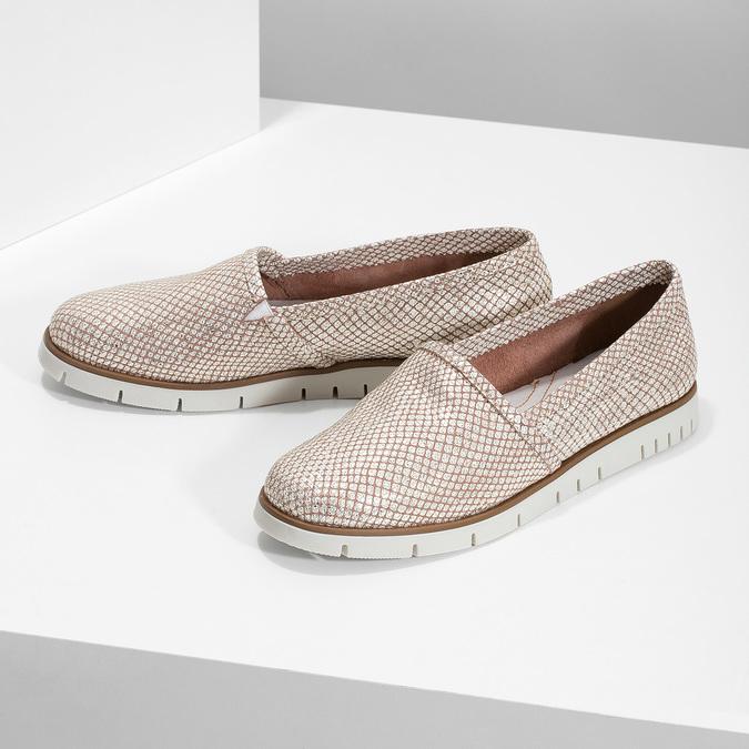 Dámske kožené Slip-on topánky na výraznej podrážke flexible, 536-5603 - 16