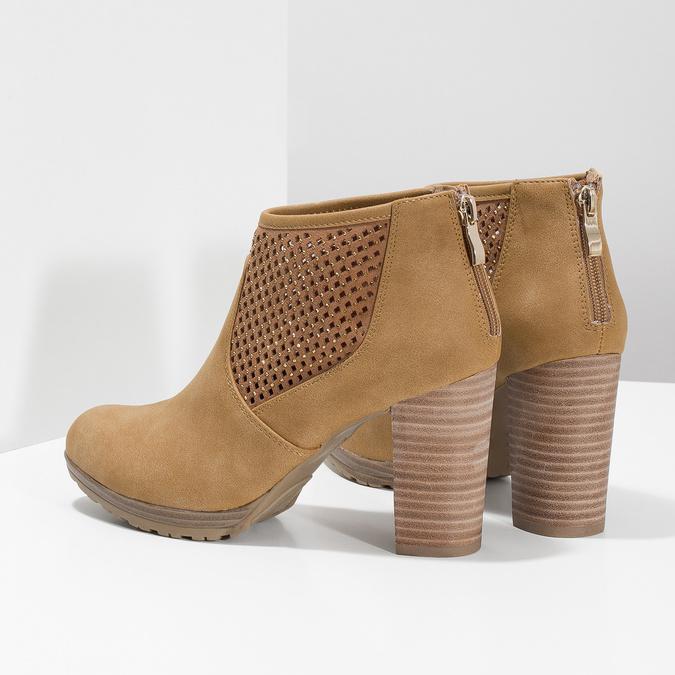 Hnedé členkové čižmy na podpätku bata, hnedá, 791-3615 - 16