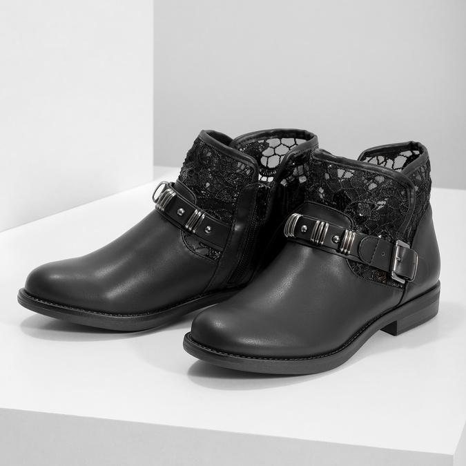 Čierne čižmy s čipkou bata, čierna, 591-6628 - 16