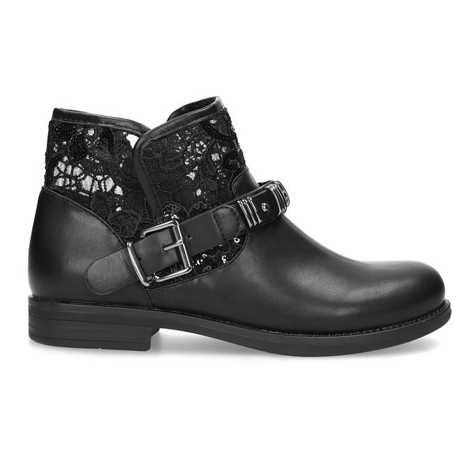 Čierne čižmy s čipkou bata, čierna, 591-6628 - 19