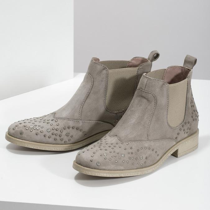 Kožené členkové topánky s kovovou aplikáciou bata, šedá, 596-2690 - 16