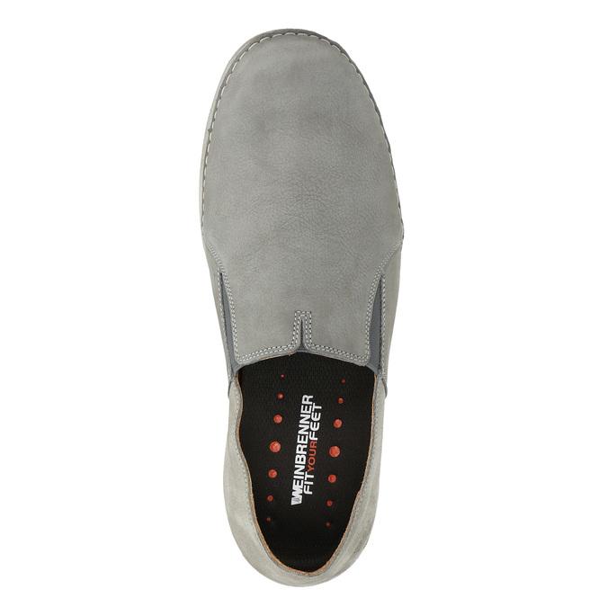 Pánske kožené Slip-on topánky weinbrenner, šedá, 836-2602 - 17
