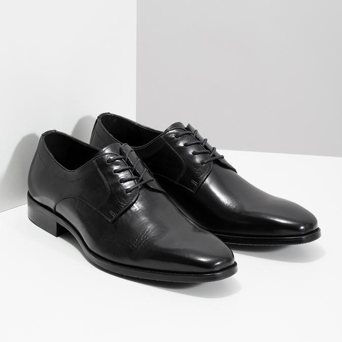 Čierne kožené Derby poltopánky bata, čierna, 824-6981 - 26
