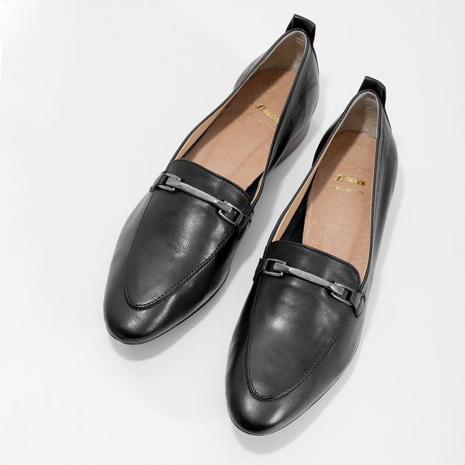Kožené dámske mokasíny s prackou bata, čierna, 516-6619 - 16
