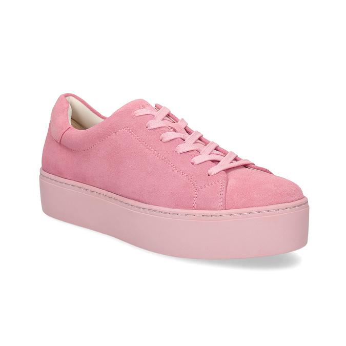 Ružové kožené tenisky na flatforme vagabond, ružová, 623-5050 - 13