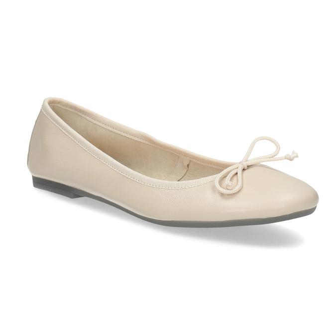 Béžové kožené dámske baleríny bata, béžová, 524-8144 - 13