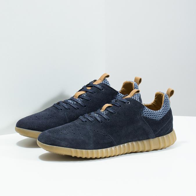Modré pánske tenisky z brúsenej kože bata, 843-9634 - 16