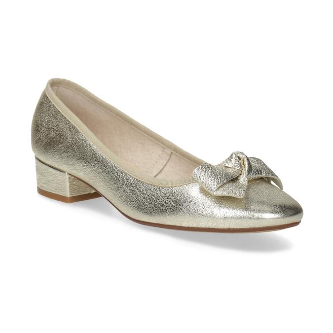 Kožené baleríny na nízkom podpätku bata, zlatá, 526-8420 - 13