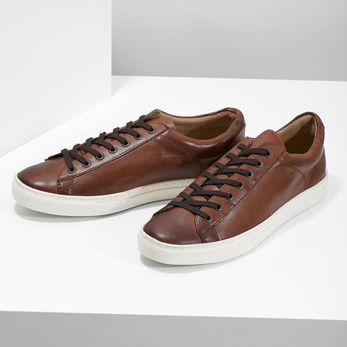 Kožené pánske tenisky bata, hnedá, 846-4648 - 16
